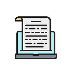 Notes on a laptop presentation text entries flat vector