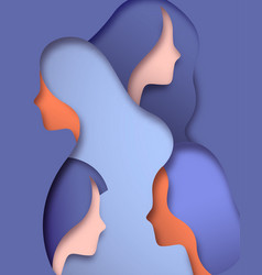 Paper cut isolated woman team face vector