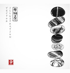 Pebble zen stones balance traditional japanese vector