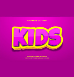 Pink kids and yellow 3d text effect design vector