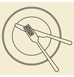 Plate knife and fork vector image
