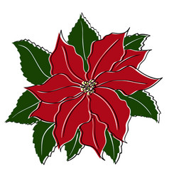 poinsettia in vintage retro style for your vector image