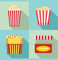 popcorn cinema box striped icons set flat style vector image