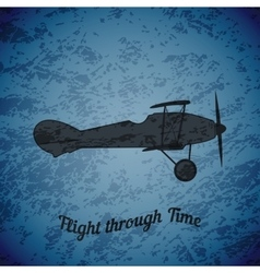 retro airplane on blue grunge background vector image