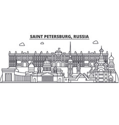 Russia saint petersburg architecture line skyline vector