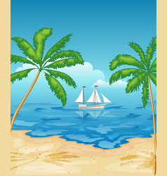 Sailboat in sea tropical beach with palm vector