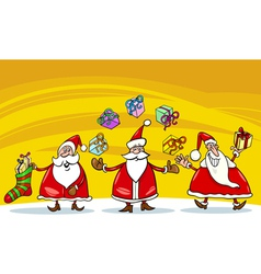 santa claus christmas group cartoon vector image
