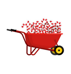 santa claus wheelbarrow and peppermint lollipop vector image