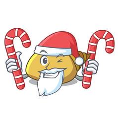 Santa with candy mollusk shell mascot cartoon vector
