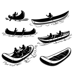 set canoe boat raft design element for poster vector image