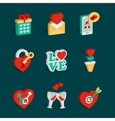 set flat isometric valentines day icons vector image