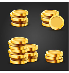 set golden stack dollar coins isolated on dark vector image