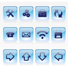 Set of Blue Pale Glass Square Buttons vector image