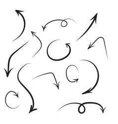 Set of hand drawn arrows vector