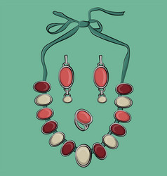 set of jewelry made of silver earrings and vector image