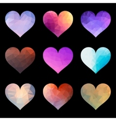 Set of Polygon Heart vector image