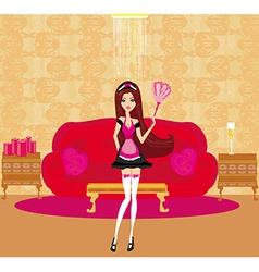 Sexy pinup style french maid cleans the room vector image