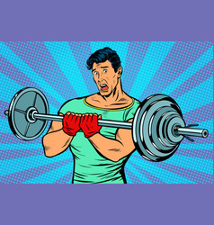 Shocked man with a barbell in the gym vector