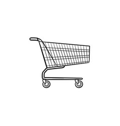 shopping cart hand drawn outline doodle icon vector image