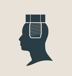 Silhouette of a mans head with screw vector