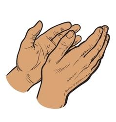 Sketch hand clap her hands bravo vector image