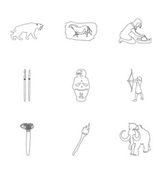 Stone age set icons in outline style big vector