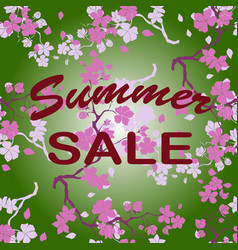 summer sale twig cherry blossoms seamless vector image vector image
