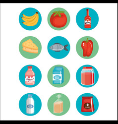 Supermarket groceries set icons vector