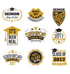 The set of black and gold colored senior text vector