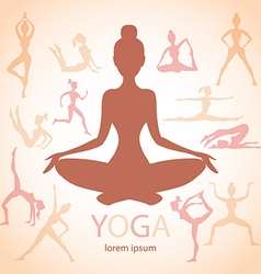 three contours women yoga poses beige background vector image