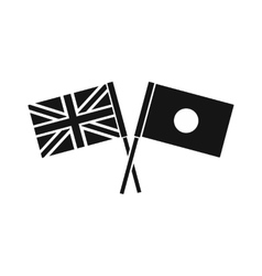 UK and Japan flags crossed icon simple style vector image