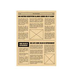vintage newspaper template sheet old style design vector image