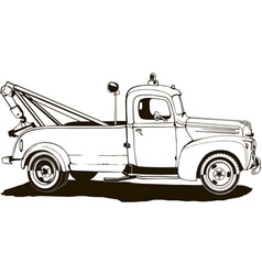 vintage tow truck monogram vector image