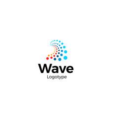 wave logo concept abstract wavy shape dots vector image