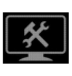 White halftone desktop settings icon vector