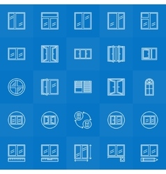 Window icons lineat collection vector