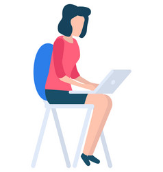 woman with laptop sitting on chair and working vector image