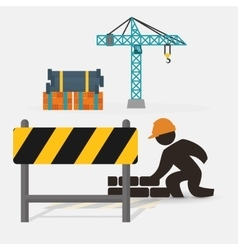 Worker construction brick wall barrier crane vector
