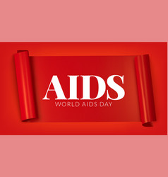 world aids day red ribbon banner vector image