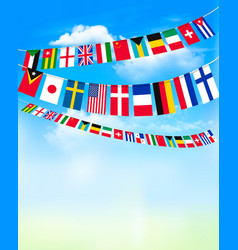 world bunting flags on blue sky vector image