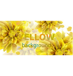 yellow flowers autumn banner watercolor vector image