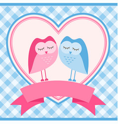 blue frame with owls for invitation card vector image vector image