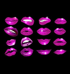 collage pink lips set Design glitter element vector image