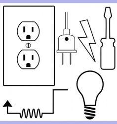 electrical symbols vector image vector image