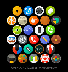 flat round icon set 9-multimedia vector image