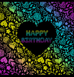 hand drawn birthday card vector image
