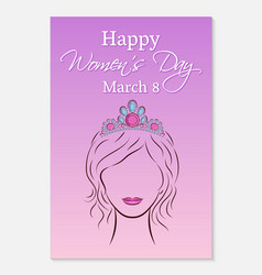 international womens day greeting card silhouette vector image vector image