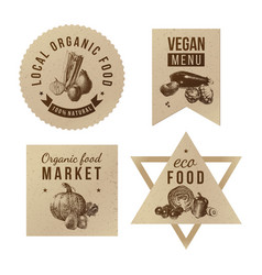 Labels with organic food designs vector