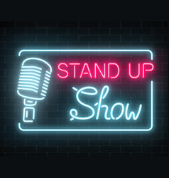 neon stand up show sign with retro microphone on vector image vector image
