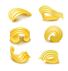 realistic detailed 3d different types butter curls vector image vector image